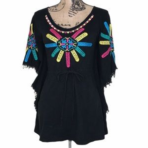 TOPSHOP Embroidered Poncho-Style Top 2